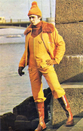"""The newest trend in the field of men's unconventional costume  includes overalls. Most likely, they will by worn by young self-confident men,  lovers of extravagancy.  "" Leningrad fashion house magazine 1977. №3"