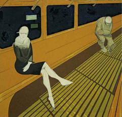 """Night tram"" painting by Israel Lizak, USSR, 1929"