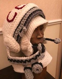 Knitted Soviet cosmonaut helmet