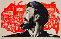"""Fidel Castro"" painting by Eduard Artsrunyan, USSR, 1963"