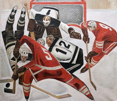 """Hockey"" painting by Viktor Ryzhikh, USSR, 1966"