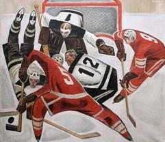 """""""Hockey"""" painting by Viktor Ryzhikh, USSR, 1966"""