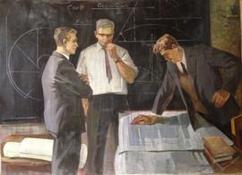 """Soviet theoretical scientists"" painting by Viktor Belov, USSR, 1972"