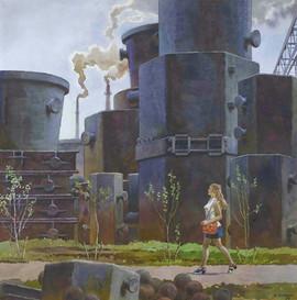 """Factory Spring"" painting by Boris Semyonov, USSR, 1974"