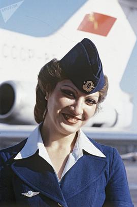 Flight attendant Anaida Safaryan at Zvartnots airport. Photo by Fred Grinberg, Yerevan, Armenian SSR, 1986