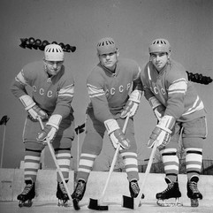 Members of the USSR national ice hockey team Boris Mikhailov, Vladimir Petrov, Valery Kharlamov. Photo by Dmitry Donskoy, 1969