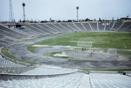 Kazakhstan, athletes at stadium in Almaty. Photo by Harison Forman, 1959