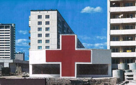Pharmacy building in Orekhovo-Borisovo, Moscow. Architects Evgeny Ass and Alexander Larin, USSR, 1973