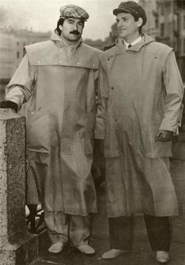 """New concepts of men's raincoats show a desire for new forms. The underlined geometricalness, the functionality of the details - causes associations with working clothing, in particular with fishermen windbreakers"" Leningrad fashion house magazine, USSR, 1982"
