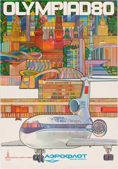 Aeroflot Soviet airlines poster, 1980