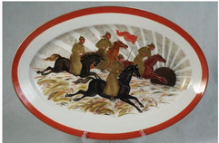 """Budyonny's cavalry"" porcelain plate by Lyubov Blak, USSR, 1970s"