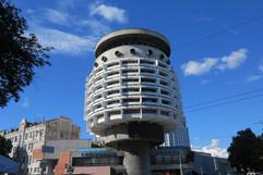 Futuristic Soviet architecture. 'Salyut' Hotel, Kiev.
