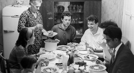 Moscow family dinner, USSR, 1966