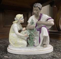 """Friendship tree"" porcelain figurine by Irina Nikonova, Leningrad porcelain factory, USSR, 1950s"