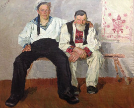 """""""Grandfather and grandson"""" painting by Vasily Gurin, USSR, 1963"""