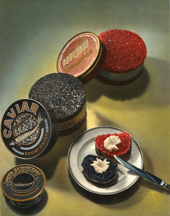 An illustration for caviar from iconic Soviet cookbook - The Book of Tasty and Healthy Food (1952 edition)