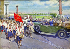 """""""Foreign tourists in Leningrad"""" painting by Ivan Vladimirov, USSR, 1937"""