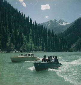 """""""Boats on the Issyk-Kul Lake"""" Photo by Vsevolod Tarasevich, Kyrgyz SSR, 1960s"""