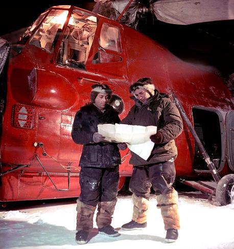 "Soviet expedition ""North Pole SP 3"", pilot Babenko and head of the station Treshnikov, photo by Jakov Ryumkin, USSR, 1955"