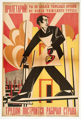 """""""Proletarian! You were not afraid of heavy weapons, do not be afraid of hard labor! Labor will build our country of workers"""" Soviet poster, 1921"""
