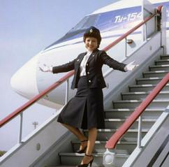 Aiya Berdyeva, flight attendant of Tu-154 Moscow-Ashgabat flight. Photo by Boris Kaufman, USSR, 1981