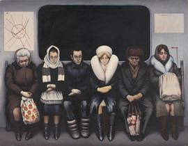 """Traveling passengers"" painting by Aleksey Sundukov, USSR, 1985"