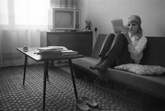 """Moscow police lieutenant, criminal investigator Nina Demchenko at home"" photo by Yuri Abramochkin, USSR, 1968"