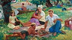 """Family on vacation"" painting by Nikolai Bondarenko, USSR, 1975"