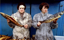 Post -Soviet visual. Fish sellers in the market of Petropavlovsk-Kamchatsky, Russia, March 1993