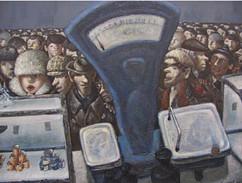 """Queue"" painting by Vasily Kolotev, USSR, 1985"