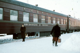 """Train number 3/4 """"Caucasus"""" Kislovodsk - Moscow, USSR, 1977"""