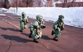 Post-Soviet visual. Children at a civil defense drill. Photo by Oleg Nikishin, Kineshma, Russia, 1999