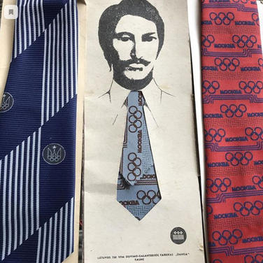 """Moscow Olympics themed ties by """"Danga"""" sewing and haberdashery factory, Kaunas, Lithuanian SSR, 1980"""