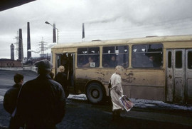 Post Soviet visual. Bus stop in Norilsk, Russia, 1993 Photo by Jean-Paul Guilloteau