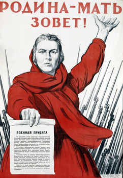 """The Motherland Is Calling""  Soviet World War II poster"