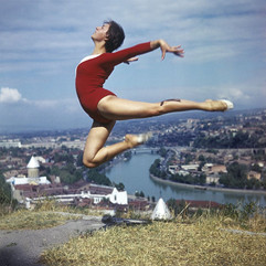 """Gymnast over Tbilisi"" photo by Yuri Tutov, Georgian SSR, 1974"