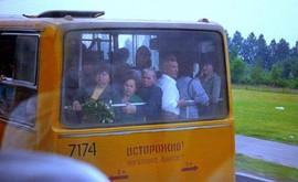 Public bus, Leningrad, USSR, 1989
