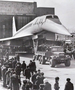 The first Soviet serial supersonic passenger airliner Tu-144 leaves the assembly shop of the Voronezh aircraft-building plant, 1972
