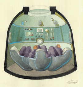 Design for the command centre of the Soyuz space shuttle by Galina Balaschova