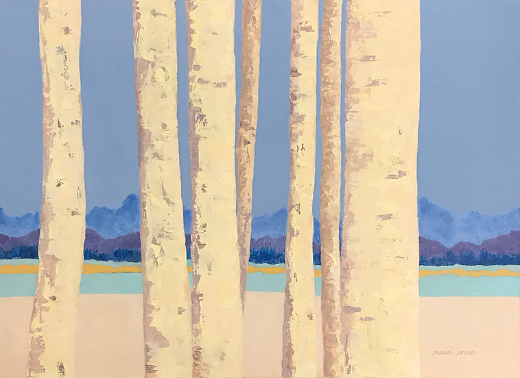 Birches at the Lake by Maryann Amodeo