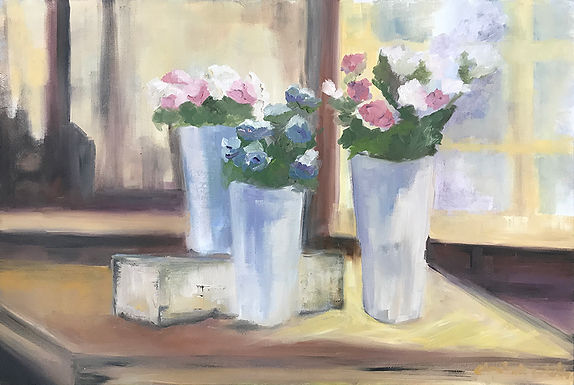 Pink and Blue Posies by Elizabeth Ricketson