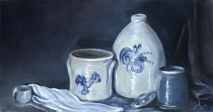 Blue Stoneware Crocks by Beverly Rinck