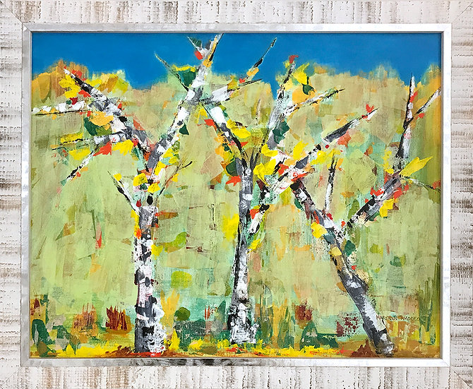 Birches in the Clearing by Maryann Amodeo