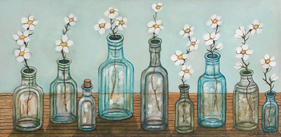 Blue Glass Bottles by Sue Carlin