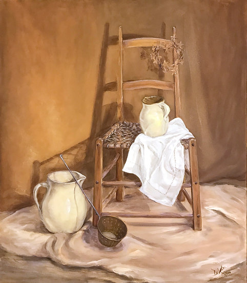 Pitchers with Chair by Beverly Rinck