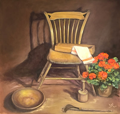 Geranium with Chair by Beverly Rinck