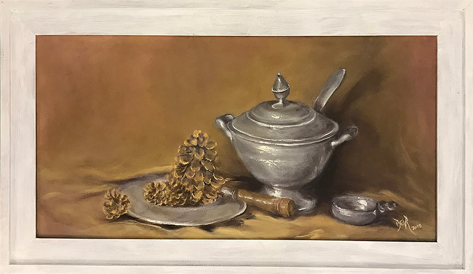 Pewter with Pinecones by Beverly Rinck