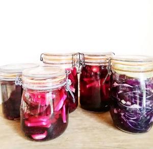 Lacto-fermentation de betteraves-navets et chou rouge-gingembre