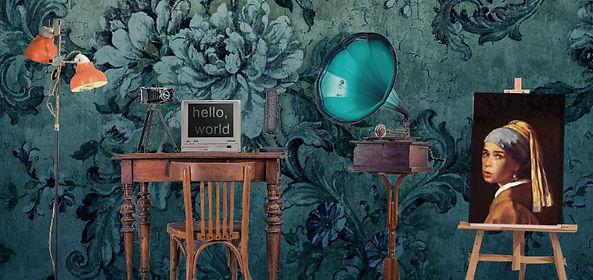 Arbeitszimmer mit Grammophon und Staffelei mit einem Ölgemälde.