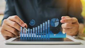 Businessman investment consultant analyz